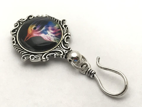 Rainbow Bird MAGNETIC Portuguese Knitting Pin- ID Badge Holder
