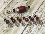 Red Butterflies Stitch Markers with Matching Stitch Marker Holder , Stitch Markers - Jill's Beaded Knit Bits, Jill's Beaded Knit Bits  - 7