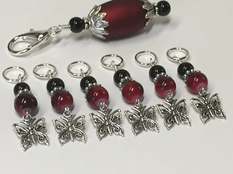 Red Butterflies Stitch Markers with Matching Stitch Marker Holder , Stitch Markers - Jill's Beaded Knit Bits, Jill's Beaded Knit Bits  - 4