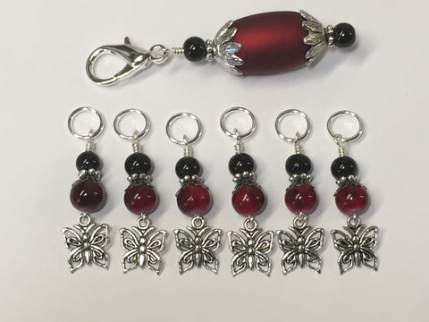 Red Butterflies Stitch Markers with Matching Stitch Marker Holder , Stitch Markers - Jill's Beaded Knit Bits, Jill's Beaded Knit Bits  - 5