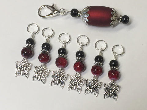 Red Butterflies Stitch Markers with Matching Stitch Marker Holder , Stitch Markers - Jill's Beaded Knit Bits, Jill's Beaded Knit Bits  - 6