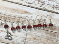 Red-Cherry-Knitting-Stitch-Marker-Set , Stitch Markers - Jill's Beaded Knit Bits, Jill's Beaded Knit Bits  - 6