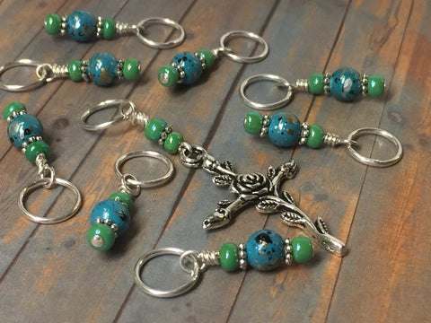 Rose Cross Knitting Stitch Marker Set-(Blue Beads) , Stitch Markers - Jill's Beaded Knit Bits, Jill's Beaded Knit Bits  - 4