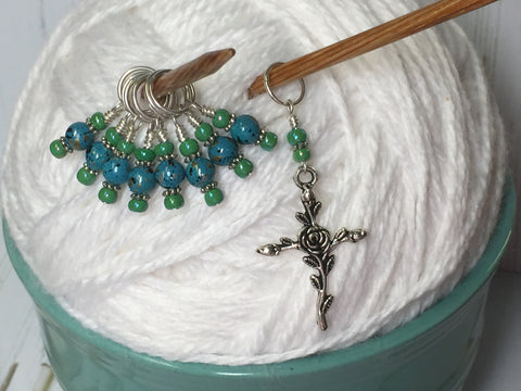 Rose Cross Knitting Stitch Marker Set-(Blue Beads) , Stitch Markers - Jill's Beaded Knit Bits, Jill's Beaded Knit Bits  - 2