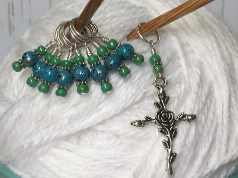 Rose Cross Knitting Stitch Marker Set-(Blue Beads) , Stitch Markers - Jill's Beaded Knit Bits, Jill's Beaded Knit Bits  - 6