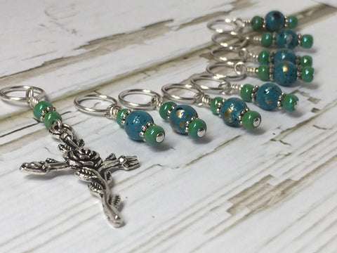 Rose Cross Knitting Stitch Marker Set-(Blue Beads) , Stitch Markers - Jill's Beaded Knit Bits, Jill's Beaded Knit Bits  - 7