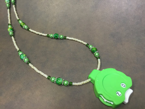 Green Row Counter Necklace for Knitting or Crochet , jewelry - Jill's Beaded Knit Bits, Jill's Beaded Knit Bits  - 7
