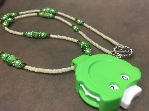Green Row Counter Necklace for Knitting or Crochet