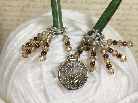 Scorpio Zodiac Sign Stitch Marker Set Scorpio- 9 Pieces , Stitch Markers - Jill's Beaded Knit Bits, Jill's Beaded Knit Bits  - 1