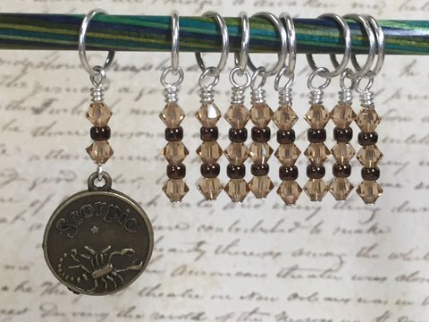 Scorpio Zodiac Sign Stitch Marker Set Scorpio- 9 Pieces , Stitch Markers - Jill's Beaded Knit Bits, Jill's Beaded Knit Bits  - 6