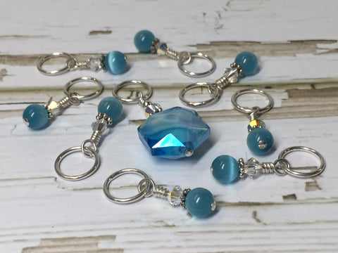 Polygon Blue Crystal Stitch Marker Set , Stitch Markers - Jill's Beaded Knit Bits, Jill's Beaded Knit Bits  - 2