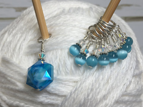 Polygon Blue Crystal Stitch Marker Set , Stitch Markers - Jill's Beaded Knit Bits, Jill's Beaded Knit Bits  - 3