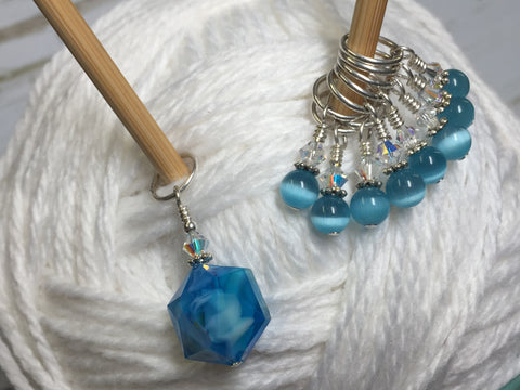 Polygon Blue Crystal Stitch Marker Set , Stitch Markers - Jill's Beaded Knit Bits, Jill's Beaded Knit Bits  - 4