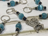 Spinning Wheel Stitch Marker Set- Blue Cats Eye , Stitch Markers - Jill's Beaded Knit Bits, Jill's Beaded Knit Bits  - 2