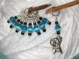 Spinning Wheel Stitch Marker Set- Blue Cats Eye , Stitch Markers - Jill's Beaded Knit Bits, Jill's Beaded Knit Bits  - 1