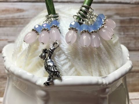 Stork Stitch Marker Set For Knitting Or Crochet , Stitch Markers - Jill's Beaded Knit Bits, Jill's Beaded Knit Bits  - 1
