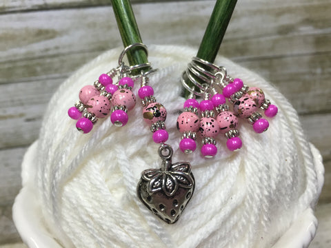 Strawberry Stitch Marker Set- 9 Pieces- Knitting Gift , stitch markers - Jill's Beaded Knit Bits, Jill's Beaded Knit Bits  - 1