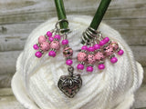 Strawberry Stitch Marker Set- 9 Pieces- Knitting Gift , stitch markers - Jill's Beaded Knit Bits, Jill's Beaded Knit Bits  - 6