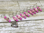 Strawberry Stitch Marker Set- 9 Pieces- Knitting Gift , stitch markers - Jill's Beaded Knit Bits, Jill's Beaded Knit Bits  - 8