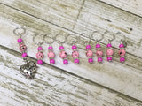 Strawberry Stitch Marker Set- 9 Pieces- Knitting Gift , stitch markers - Jill's Beaded Knit Bits, Jill's Beaded Knit Bits  - 9