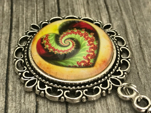 Swirling Heart MAGNETIC Portuguese Knitting Pin- ID Badge Holder- Gift for Knitters