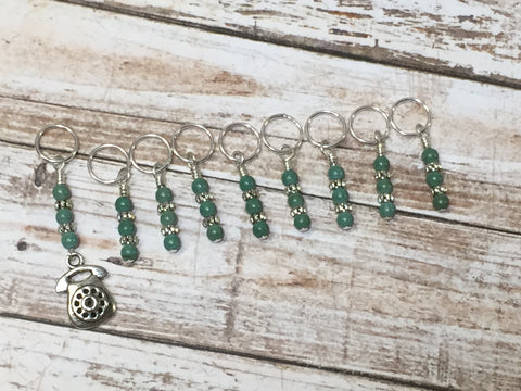 Rotary Dial Antique Telephone Stitch Marker Set , Stitch Markers - Jill's Beaded Knit Bits, Jill's Beaded Knit Bits  - 2