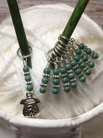 Rotary Dial Antique Telephone Stitch Marker Set , Stitch Markers - Jill's Beaded Knit Bits, Jill's Beaded Knit Bits  - 7