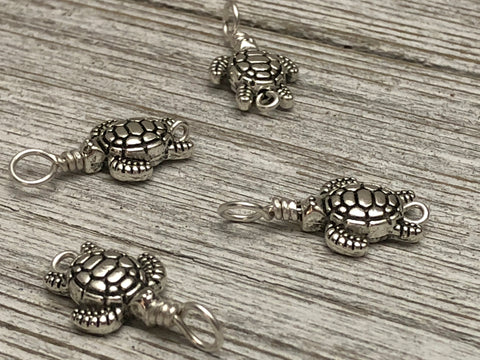 Turtle Knitting Stitch Markers on Sterling Silver Filled Wire | Gifts for Knitters