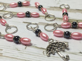 Pink Umbrella Stitch Marker Set , stitch markers - Jill's Beaded Knit Bits, Jill's Beaded Knit Bits  - 5