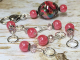 Watermelon Pink Stitch Markers & Matching Clip Holder , Stitch Markers - Jill's Beaded Knit Bits, Jill's Beaded Knit Bits  - 9