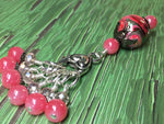 Watermelon Pink Stitch Markers & Matching Clip Holder , Stitch Markers - Jill's Beaded Knit Bits, Jill's Beaded Knit Bits  - 3