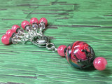 Watermelon Pink Stitch Markers & Matching Clip Holder , Stitch Markers - Jill's Beaded Knit Bits, Jill's Beaded Knit Bits  - 4