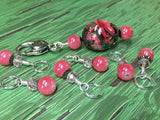 Watermelon Pink Stitch Markers & Matching Clip Holder , Stitch Markers - Jill's Beaded Knit Bits, Jill's Beaded Knit Bits  - 5