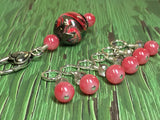 Watermelon Pink Stitch Markers & Matching Clip Holder , Stitch Markers - Jill's Beaded Knit Bits, Jill's Beaded Knit Bits  - 6