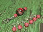 Watermelon Pink Stitch Markers & Matching Clip Holder , Stitch Markers - Jill's Beaded Knit Bits, Jill's Beaded Knit Bits  - 7