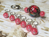 Watermelon Pink Stitch Markers & Matching Clip Holder , Stitch Markers - Jill's Beaded Knit Bits, Jill's Beaded Knit Bits  - 8