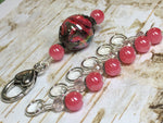 Watermelon Pink Stitch Markers & Matching Clip Holder , Stitch Markers - Jill's Beaded Knit Bits, Jill's Beaded Knit Bits  - 1