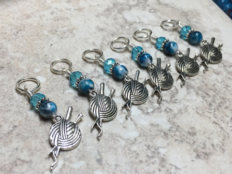 Yarn Ball & Knitting Needles Stitch Markers- Set of 6 , Stitch Markers - Jill's Beaded Knit Bits, Jill's Beaded Knit Bits  - 4