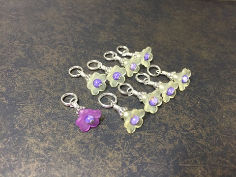 Flowers Snag Free Stitch Markers- Yellow & Purple , Stitch Markers - Jill's Beaded Knit Bits, Jill's Beaded Knit Bits  - 4