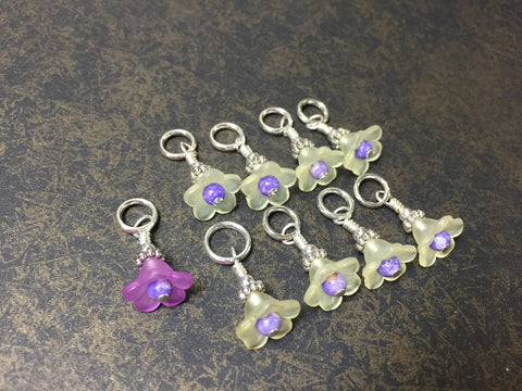Flowers Snag Free Stitch Markers- Yellow & Purple , Stitch Markers - Jill's Beaded Knit Bits, Jill's Beaded Knit Bits  - 5