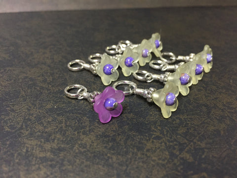 Flowers Snag Free Stitch Markers- Yellow & Purple , Stitch Markers - Jill's Beaded Knit Bits, Jill's Beaded Knit Bits  - 6