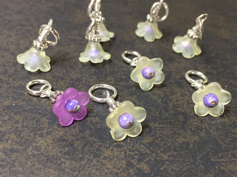 Flowers Snag Free Stitch Markers- Yellow & Purple , Stitch Markers - Jill's Beaded Knit Bits, Jill's Beaded Knit Bits  - 8