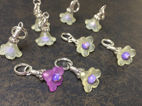 Flowers Snag Free Stitch Markers- Yellow & Purple , Stitch Markers - Jill's Beaded Knit Bits, Jill's Beaded Knit Bits  - 9