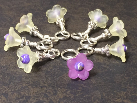 Flowers Snag Free Stitch Markers- Yellow & Purple