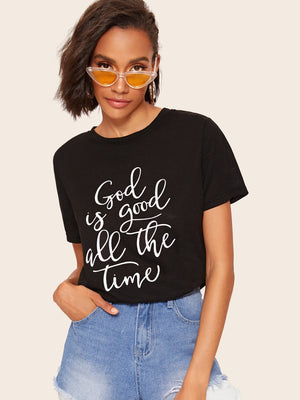 Slogan Print Heather Knit Tee