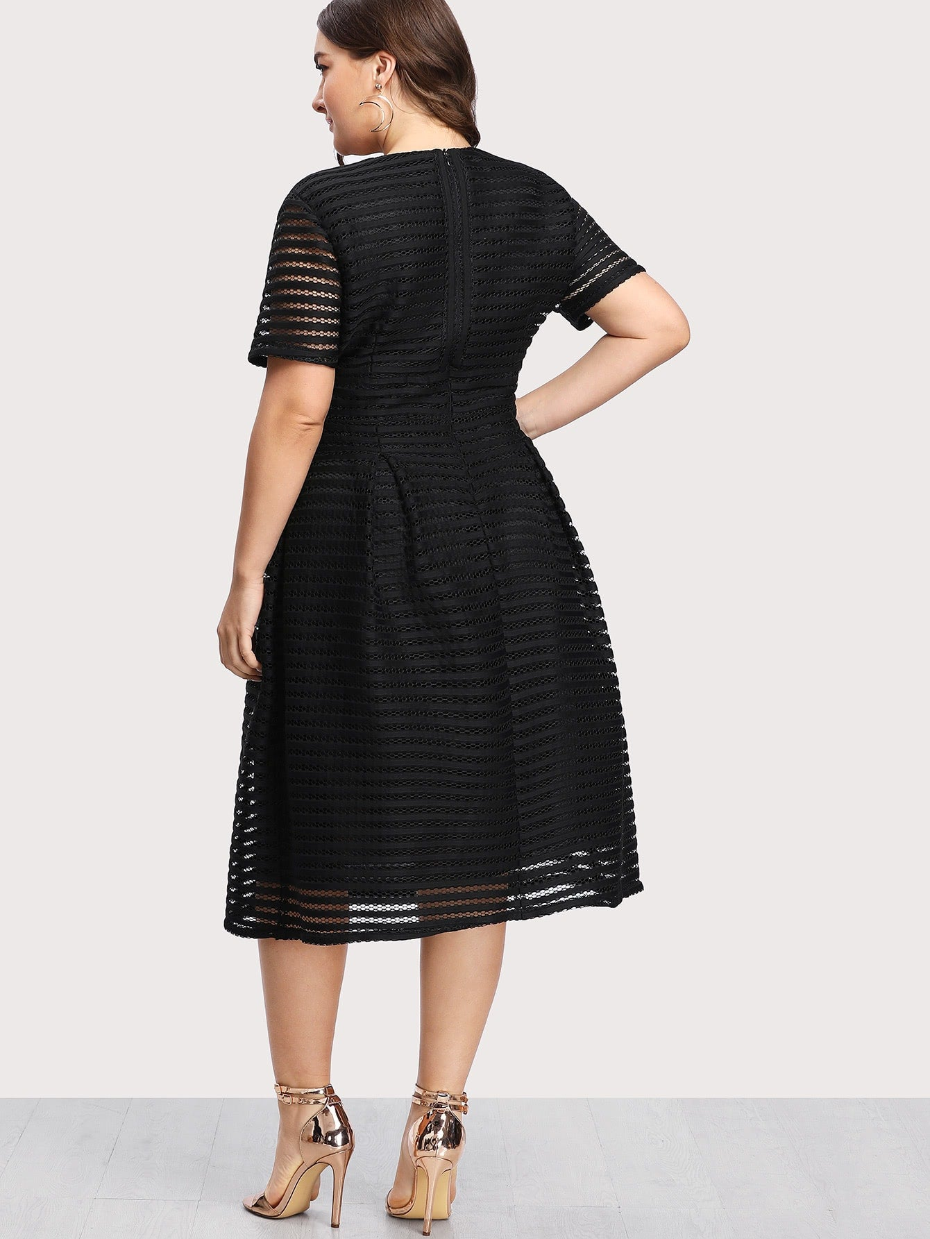 Plus Box Pleated Striped Mesh Dress