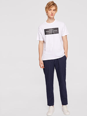 Men Drawstring Waist Vertical Striped Pants