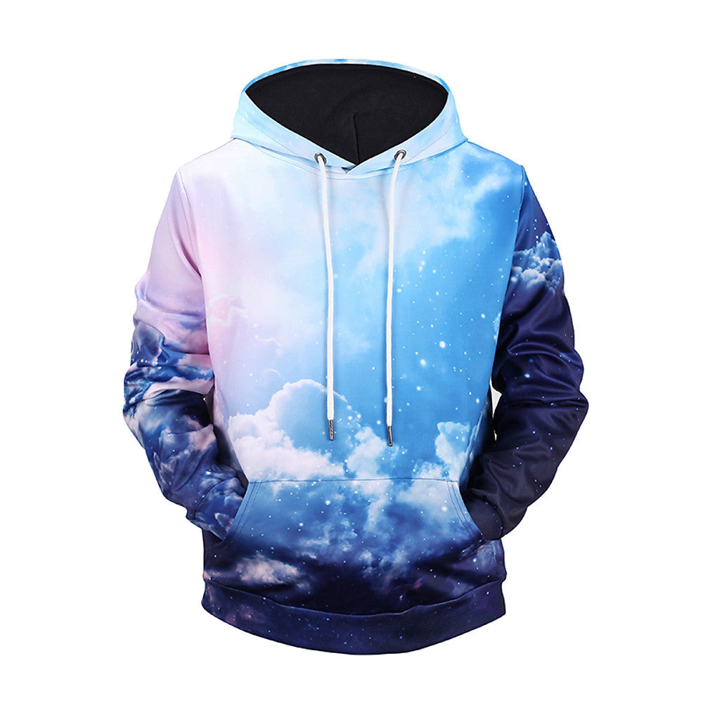 Men's Active / Street Chic Long Sleeve Hoodie - Color Block / 3D Print Hooded Light Blue M - XXXL