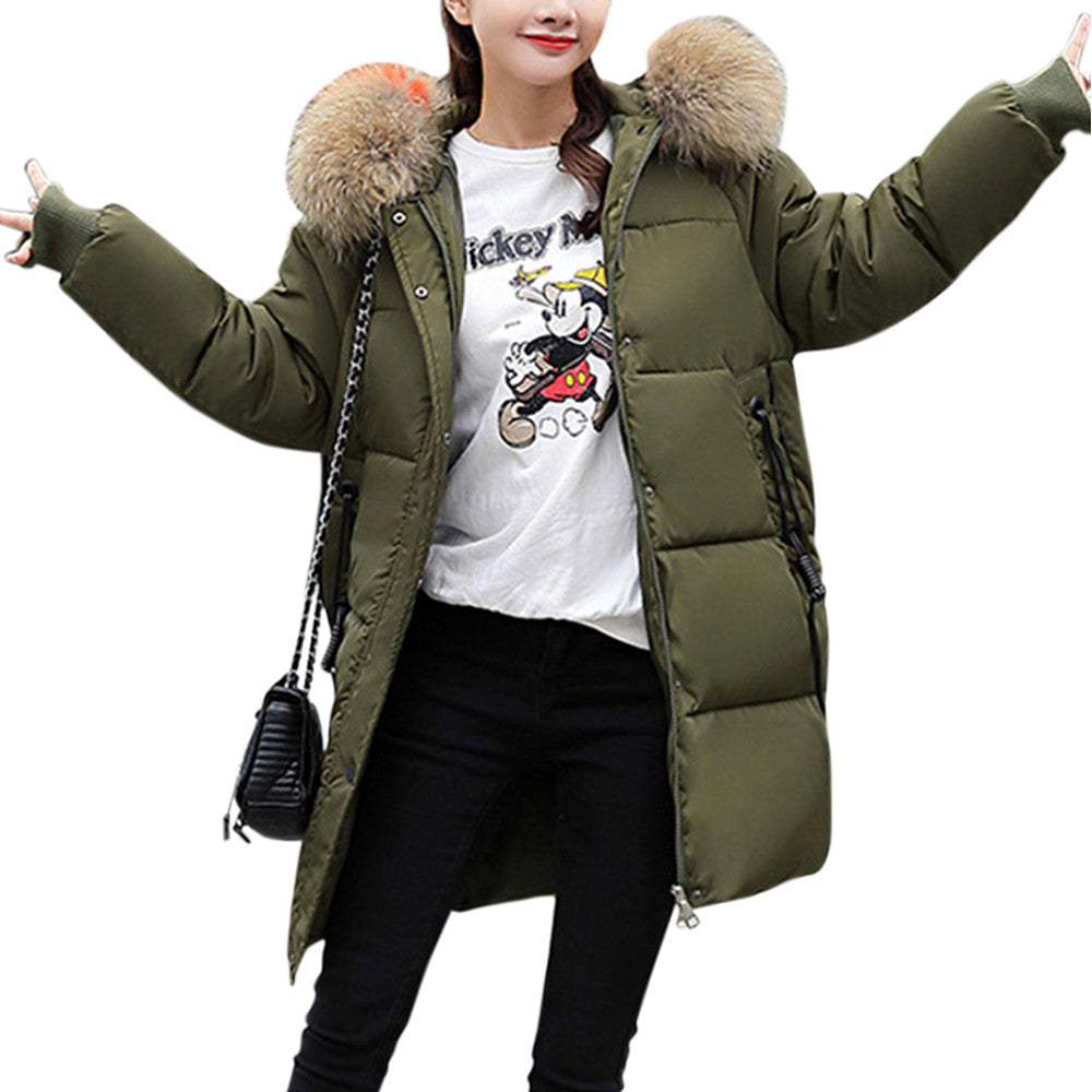 Women's Solid Colored Parka  (Polyester Red, Beige,  Army Green, M-3XL)