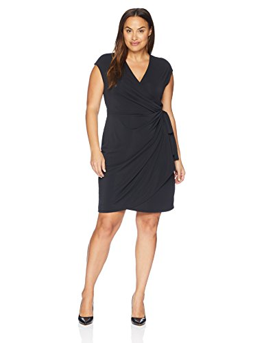 Lark & Ro Women's Plus Size Classic Cap Sleeve Wrap Dress:(Shop From Amazon)